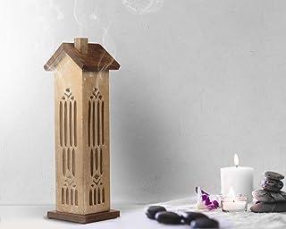 storeindya 感謝祭ギフト 木製タワーハウスお香ホルダー ウォールナット仕上げ バーナー アッシュキャッチャー付き 装飾的 無料 オーガニックお香3本