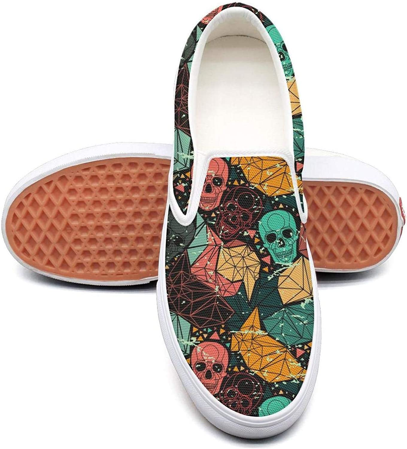 colorful Mexican Skull Party Slip On Rubber Sole Loafers Canvas shoes for Women Lightweight