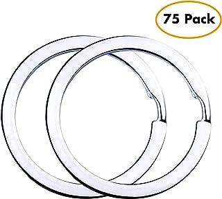 Flat Key Rings Key Chain Metal Split Ring 75pcs (Round 1.25 Inch Diameter), for Home Car Keys Organization, Lead Free Nickel Plated Silver