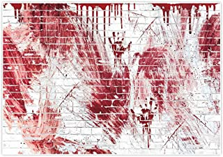 Allenjoy 7x5ft Bloody White Brick Wall Backdrop for Halloween Festival Flowing Blood Splatter Party Decor horrorible Blood drip Handprint Scratch Portrait Photography Background Photo Studio Booth