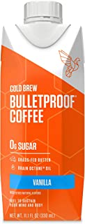 Bulletproof Vanilla Cold Brew Coffee, Keto Diet Friendly, Sugar Free, non-GMO, organic, with Brain Octane oil and Grass-fed Butter (Vanilla) (12-Pack)