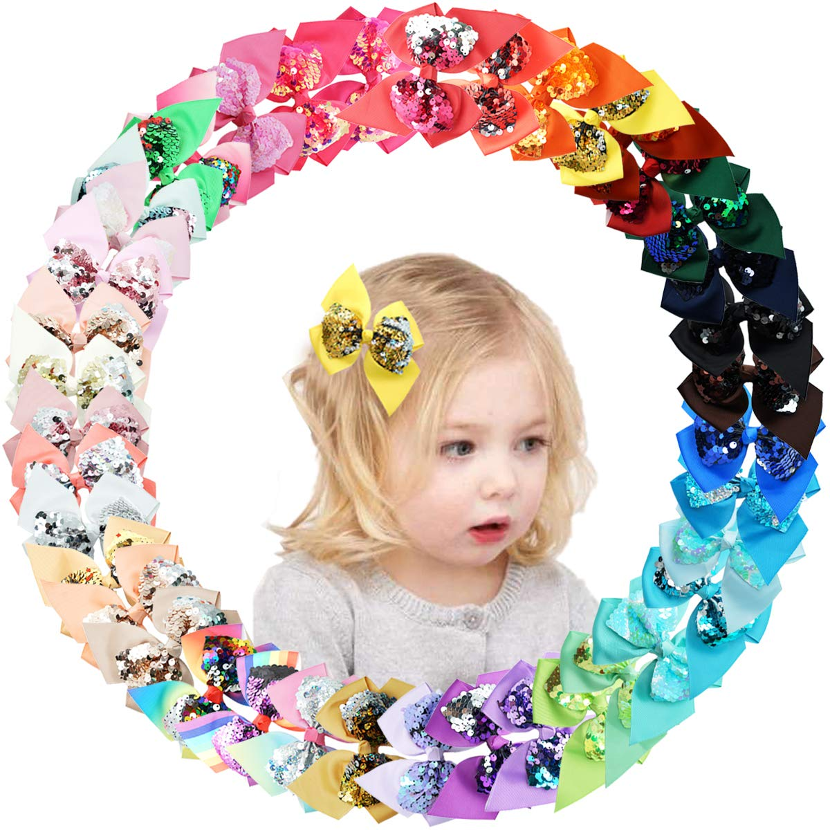 40 Colors Sequin Bows Popular shop is Large-scale sale the lowest price challenge Clips Inch Hair 4.5 Reversible