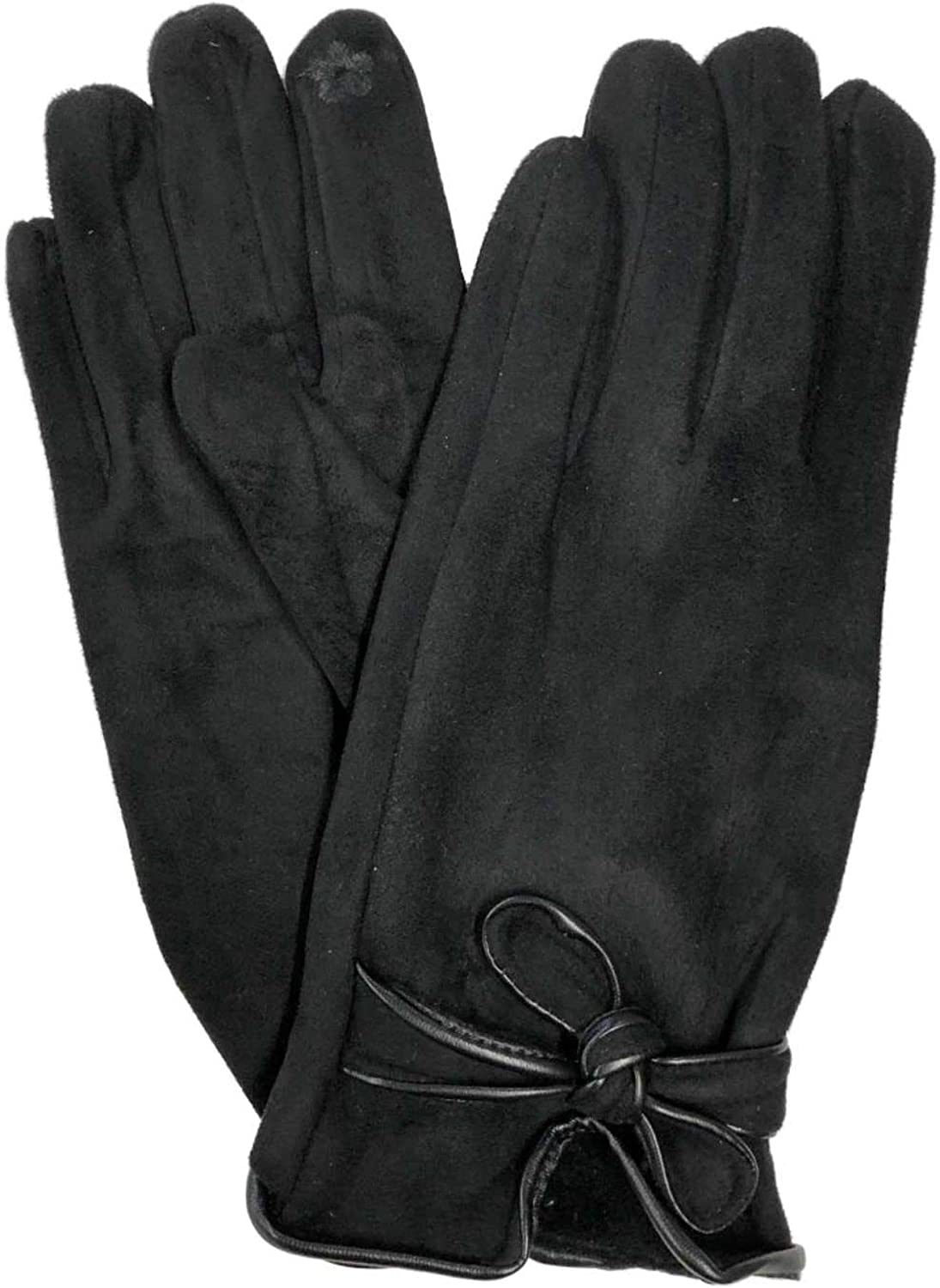 Womens Soft Black Bow Stretch Fit Texting & Tech Touchscreen Driving Gloves