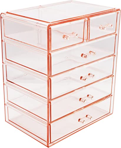 Sorbus Cosmetics Makeup and Jewelry Big Pink Storage Case Display- 4 Large and 2 Small Drawers Space- Saving, Stylish...