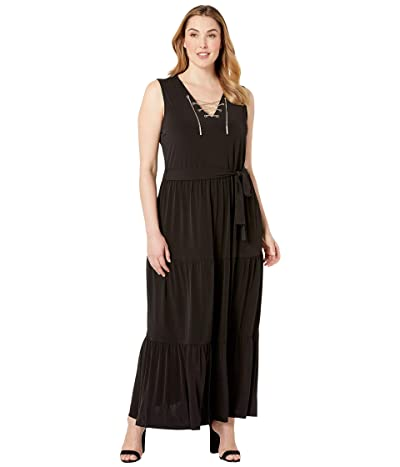MICHAEL Michael Kors Plus Size Chain Lace-Up Maxi Dress (Black) Women