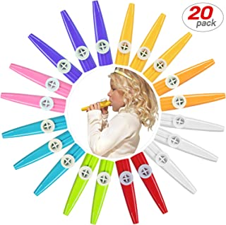 20 Pack Plastic Kazoos Musical Instruments with 20pcs Kazoo Flute Diaphragms Assorted Color Party Favors Gifts Kazoo Kid Random 8 Colors