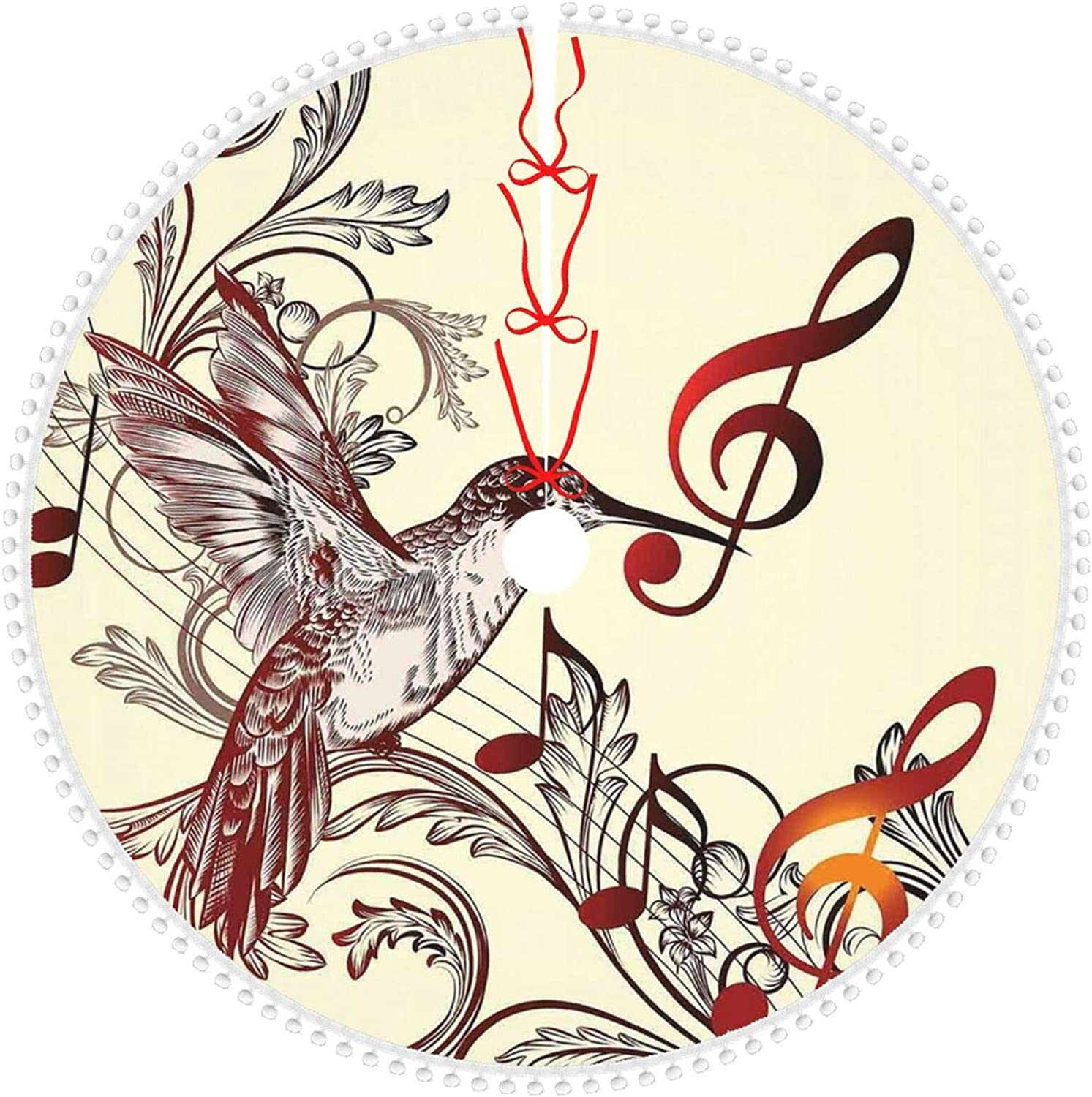 OTTOPT Christmas Mesa Mall Tree Skirt Base Hummingbirds low-pricing N Music Cover and