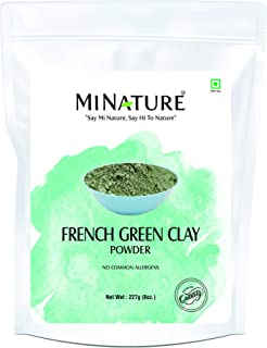 French Green Clay powder by mi nature   227g( 8 oz) ( 0.5 lb)   Montmorillonite Clay   Facial Care   Skin care