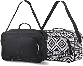 16 Inch Carry On Hand Luggage Flight Duffle Bag, 2nd Bag or Underseat, 19L (Black + Black Aztec)