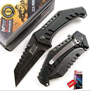 SPRING ASSISTED FOLDING POCKET Sharp KNIFE Mtech Black Sheep Foot Tactical Blade EDC Combat Tactical Knife + eBOOK by Moon Knives