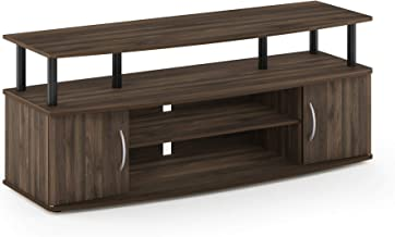 FURINNO JAYA Large Entertainment Stand for TV Up to 50 Inch, Columbia Walnut/Black
