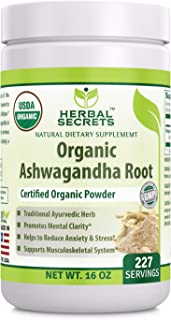 Herbal secrets USDA Certified Organic Ashwagandha Root Powder 16 oz (Non-GMO) 227 Servings- Supports Musculoskeletal System* Promotes Mental Clarity* Helps to Reduce Anxiety & Stress*