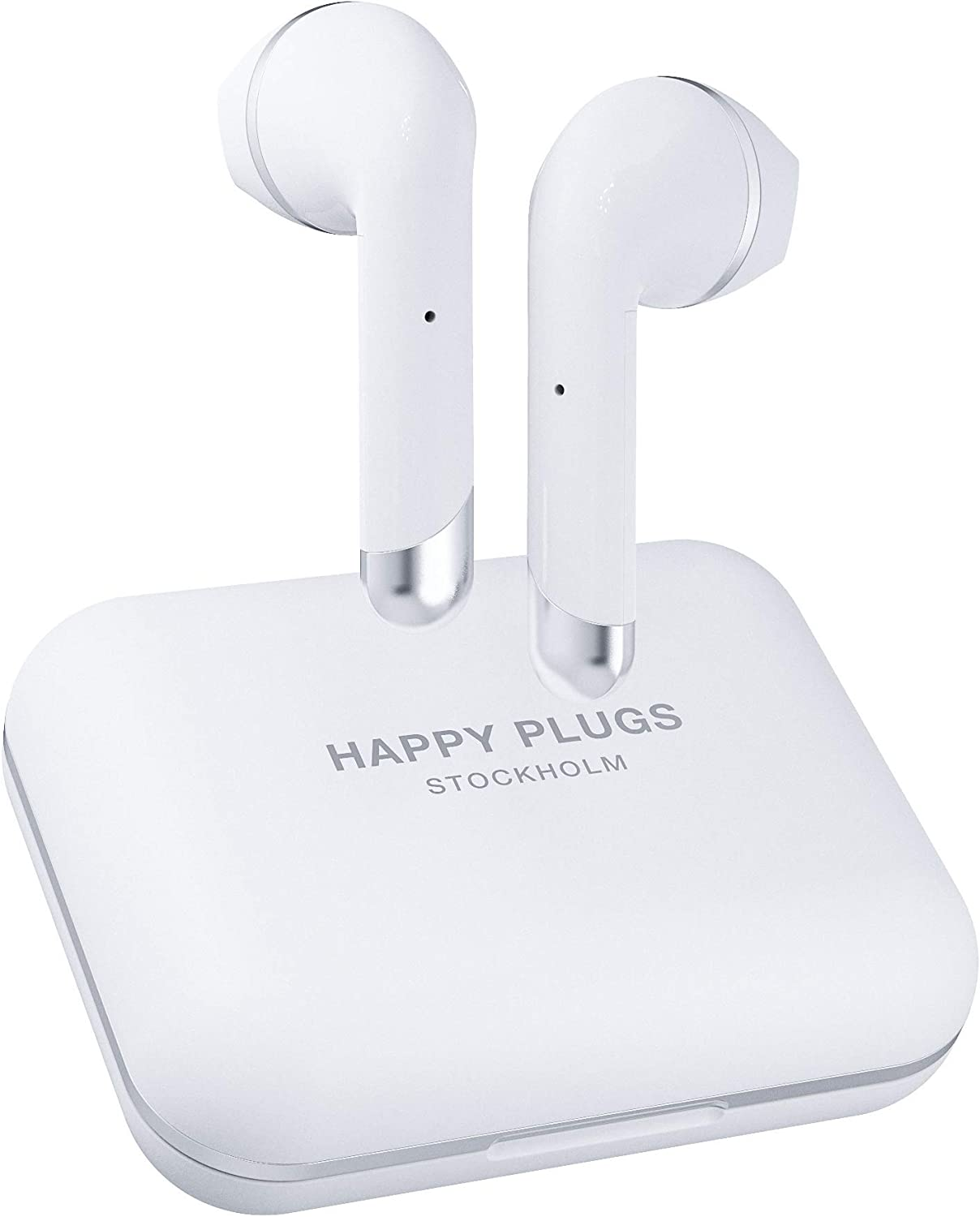 Happy Plugs Air 1 Plus High-end Earbuds   True Wireless Bluetooth Headphones with Charging Case and Microphones   Up to 40 Hours Playtime   iOS/Android/Zoom/Pc/Mac Compatible, White