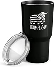 Trumplican 30 oz Stainless Steel Tumbler with Lid - Vacuum Insulated Large Funny Travel Mug Tumblers in Black