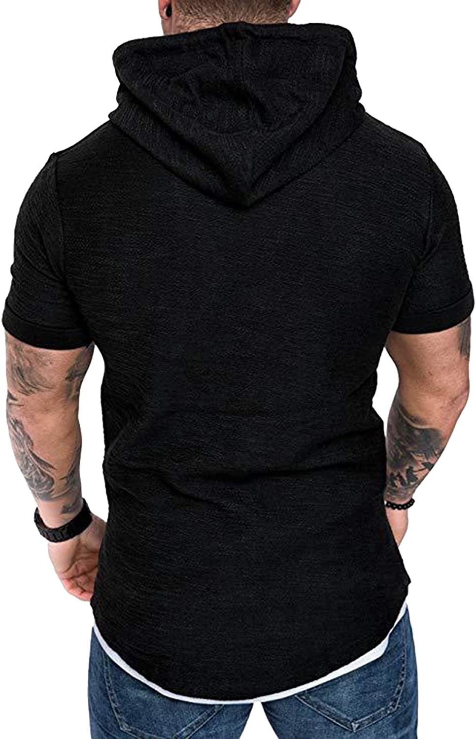 Athletic Fashion T-Shirts for Men Short Sleeve Tops Slim Fit Cotton Gym Tee