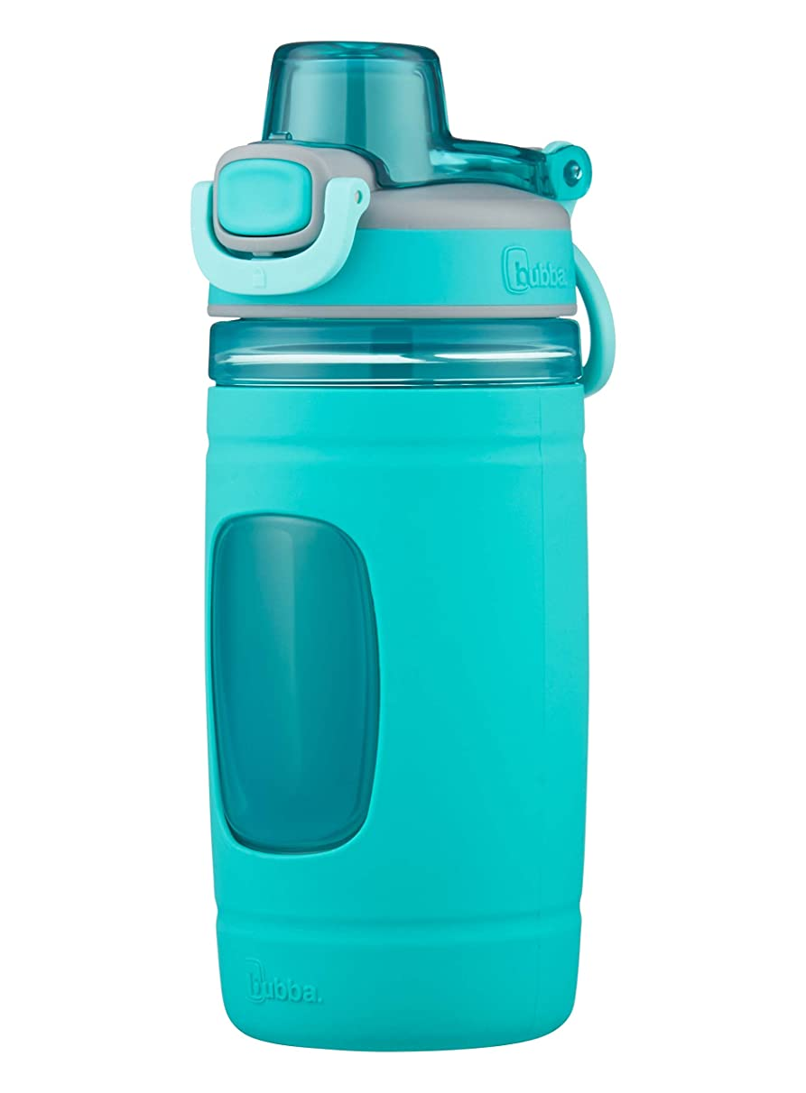 Bubba Flo Kids Water Bottle with Silicone Sleeve, 16 oz, Aqua