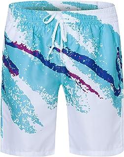 UNIFACO Mens Printed Swim Trunks Button Down Short Sleeve Hawaiian Shirts