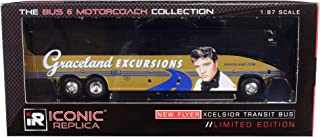 MCI J4500 Motorcoach Bus Graceland Excursions (Birthplace of Elvis Presley Tour) Gold 1/87 (HO) Diecast Model by Iconic Replicas 87-0201
