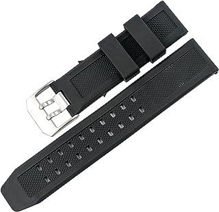 【TON CHARME】トンチャーメー腕時計用ベルト TPU ブラック ルミノックス 交換 汎用 23mm 互換品 防水防汗タイプ スポーツ (シルバーバックル)