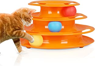 Tower of Tracks Cats Toy with Interactive Intelligence Track Ball Tower (Orange)