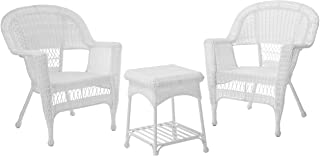 Jeco 3 Piece Wicker Chair and End Table Set without Cushion, White