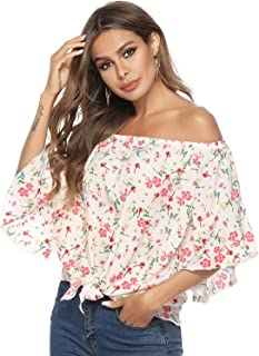 Zandiceno Women's Summer Off Shoulder Floral Print Chiffon Blouse Top Flare Sleeve Tie Knot Casual Tops Shirts