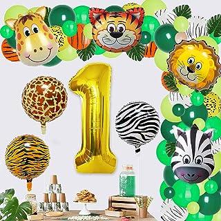 Jungle 1st Birthday Decorations Jungle Safari Theme Party Balloon Garland Kit for Boys Girls 1st Birthday Party Baby Showe...