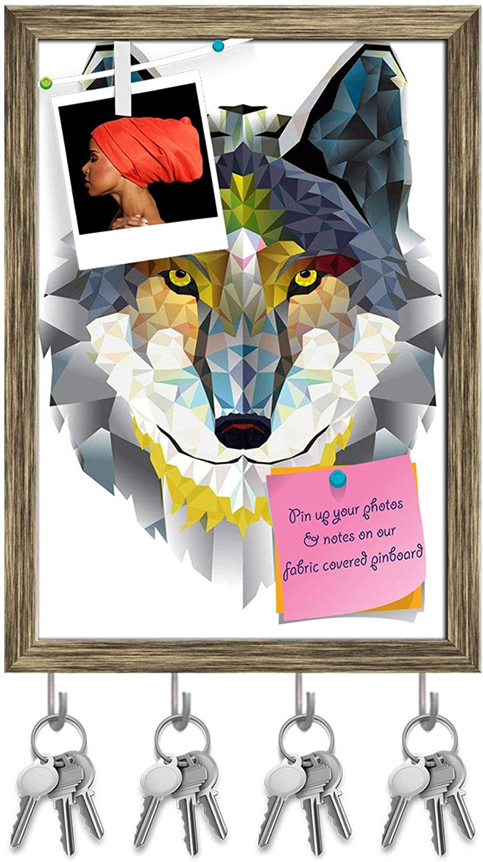 Artzfolio Wolf Head Key Holder Hooks   Notice Pin Board   Antique golden Frame 10 X 14.2Inch