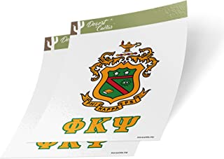 Desert Cactus Phi Kappa Psi Crest & Letter 2-Pack Sticker Decal Greek for Window Laptop Computer Car Phi Psi (Crest Sticker)