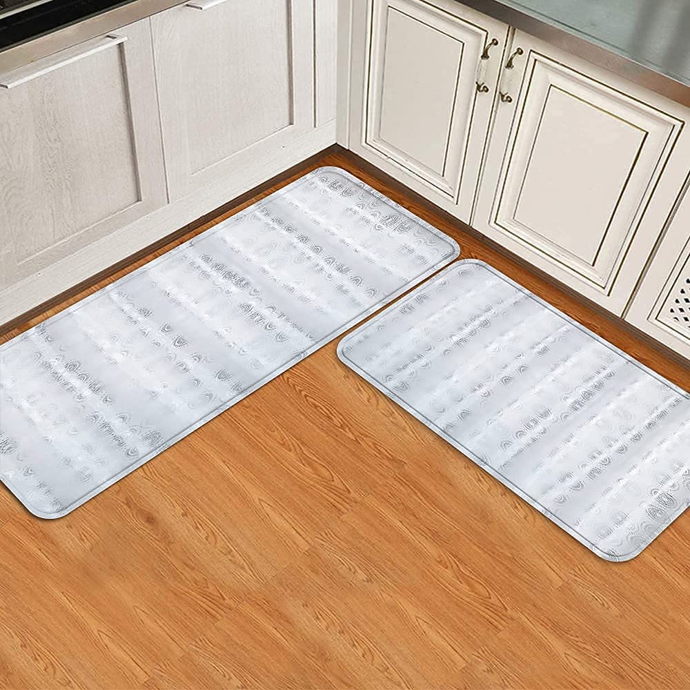 Midetoy Kitchen Rugs Tampa Mall Max 89% OFF and Mats 2 Printed Cus Circle Pieces Silver