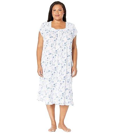 Eileen West Plus Size Cotton Modal Knit Cap Sleeve Waltz Nightgown (White Ground Trumpet) Women