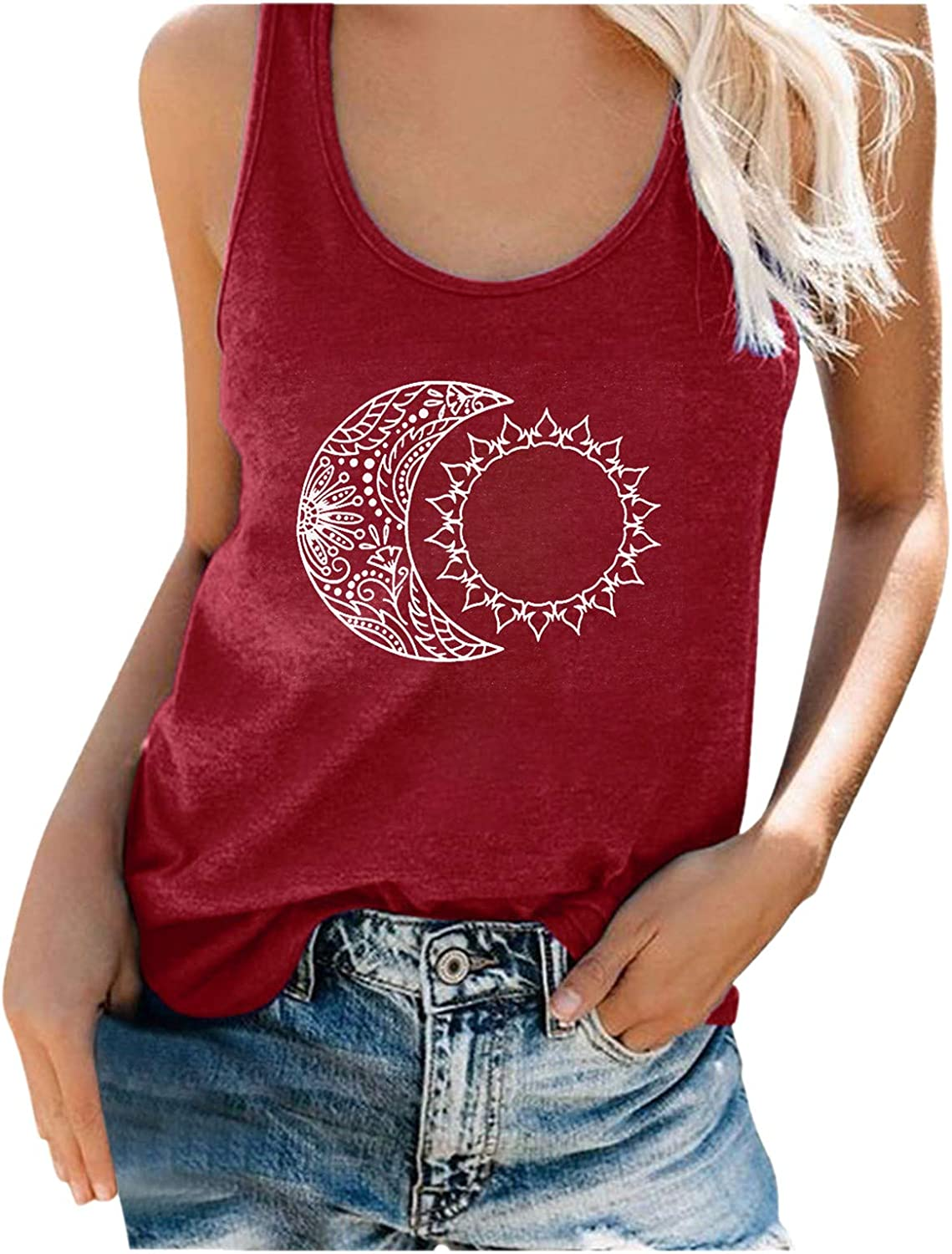 NLOMOCT Womens Summer Tank Tops Sl Women's Sales gift of SALE items from new works Letter Print Crewneck