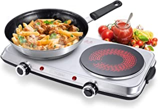 SUNAVO Infrared Burner Electric Double Ceramic Hot Plate 1800W Portable Cooktop Adjustable Temperature Control