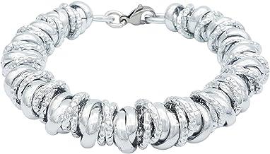 ParticolarModa Bracciale con nodini intrecciati lucido diamantato per donna in alluminio e acciaio dorato argentato 12 mm