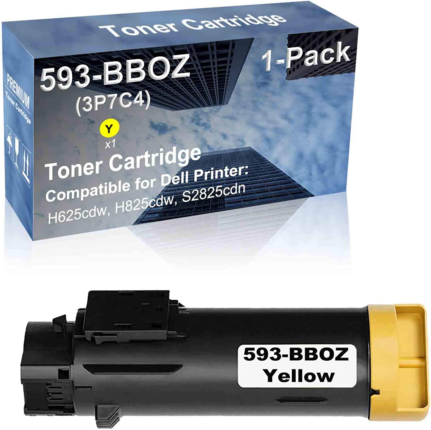1-Pack (Yellow) Compatible High Capacity 593-BBOZ Toner Cartridge Used for Dell H625cdw, H825cdw, S2825cdn Printer