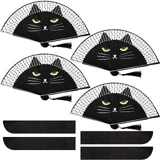 pliable en bambou et soie WINOMO /Éventail portable motif chat noir