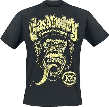 Gas Monkey Garage Logo Hombre Camiseta Negro, Regular