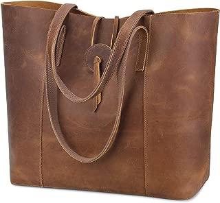 Vintage Genuine Leather Tote Bag for Women Large Shoulder Purse Handbag