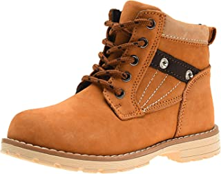 Ahannnie Boys Leather Martin Boot Kids Classic Lace-Up Outdoor Western Cowboy Ankle Boot(Toddler/Little Kids)