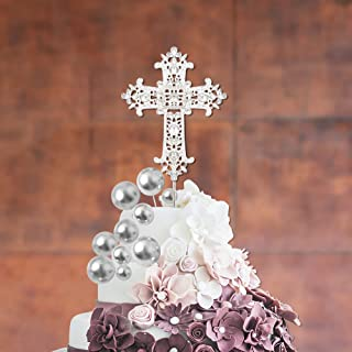 11 PCS Cross Cake Toppers, Cross Cake Decorations with Silver Balls cake Topper for Religious Wedding, Baptism, Christenin...