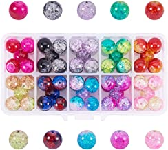 PH PandaHall 1 Box (About 90 pcs) 10 Color 12mm Handcrafted Crackle Lampwork Glass Round Beads Assortment Lot for Jewelry Making