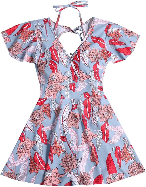 Hhrong Women's Print OnePiece Dress Swimsuit Foam Cup and Adjustable Conservative Bikini
