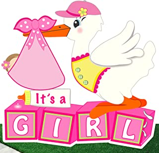 Cute News Welcome It's a Girl Yard Stork Sign - Baby Shower Lawn Decoration - Outdoor Birth Announcement - Special Delivery, Pink