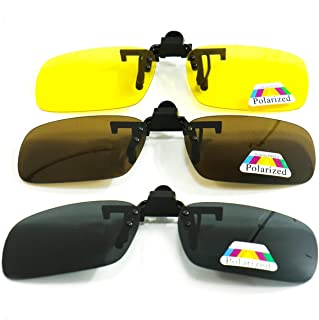 SenseYo 3 Pairs Polarized Clip On Sunglasses Over Prescription Eyeglasses for Men/Women
