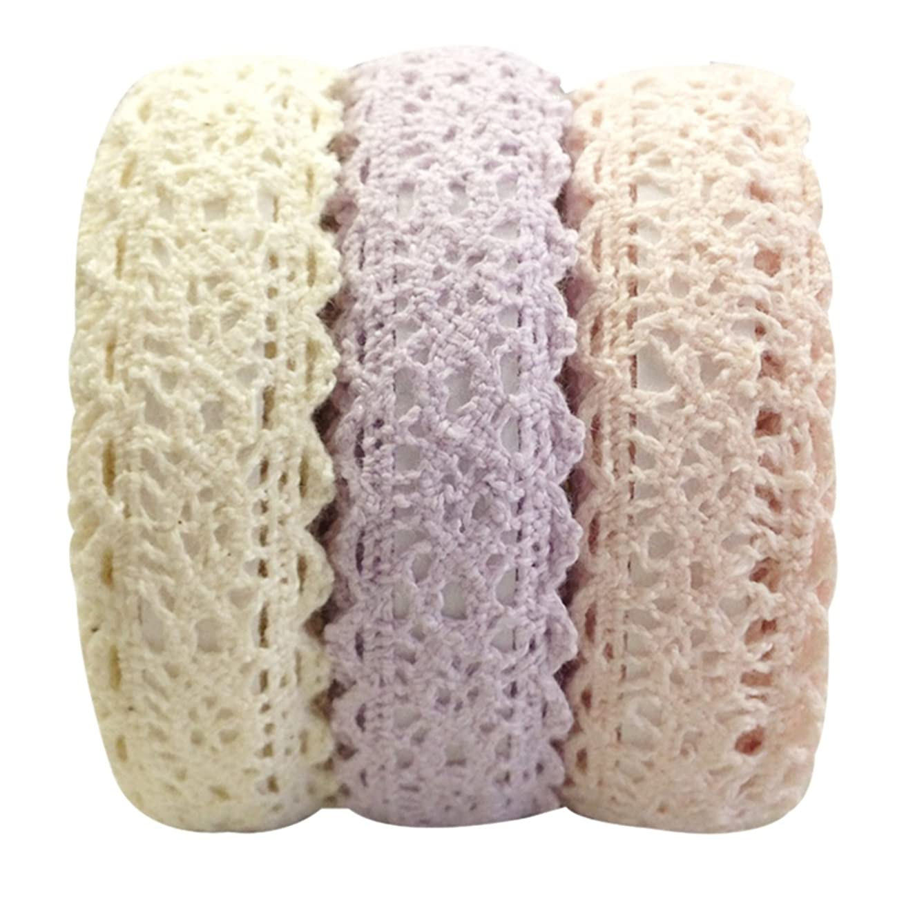 Wrapables Decorative Lace Tape, 500cm by 15mm,Beige/Light Purple/Light Pink, Set of 3 y530668311974248