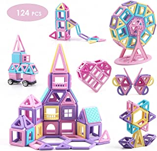 VIXA Magnetic Blocks Educational Castle Building Toys Creativity Kids DIY Magnetic Tiles with Wheels Storage Box Ideal for...
