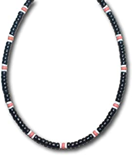 Native Treasure - Black Coco Wood Bead 2 White 1 Light Puka Shell Necklace - 5mm (3/16