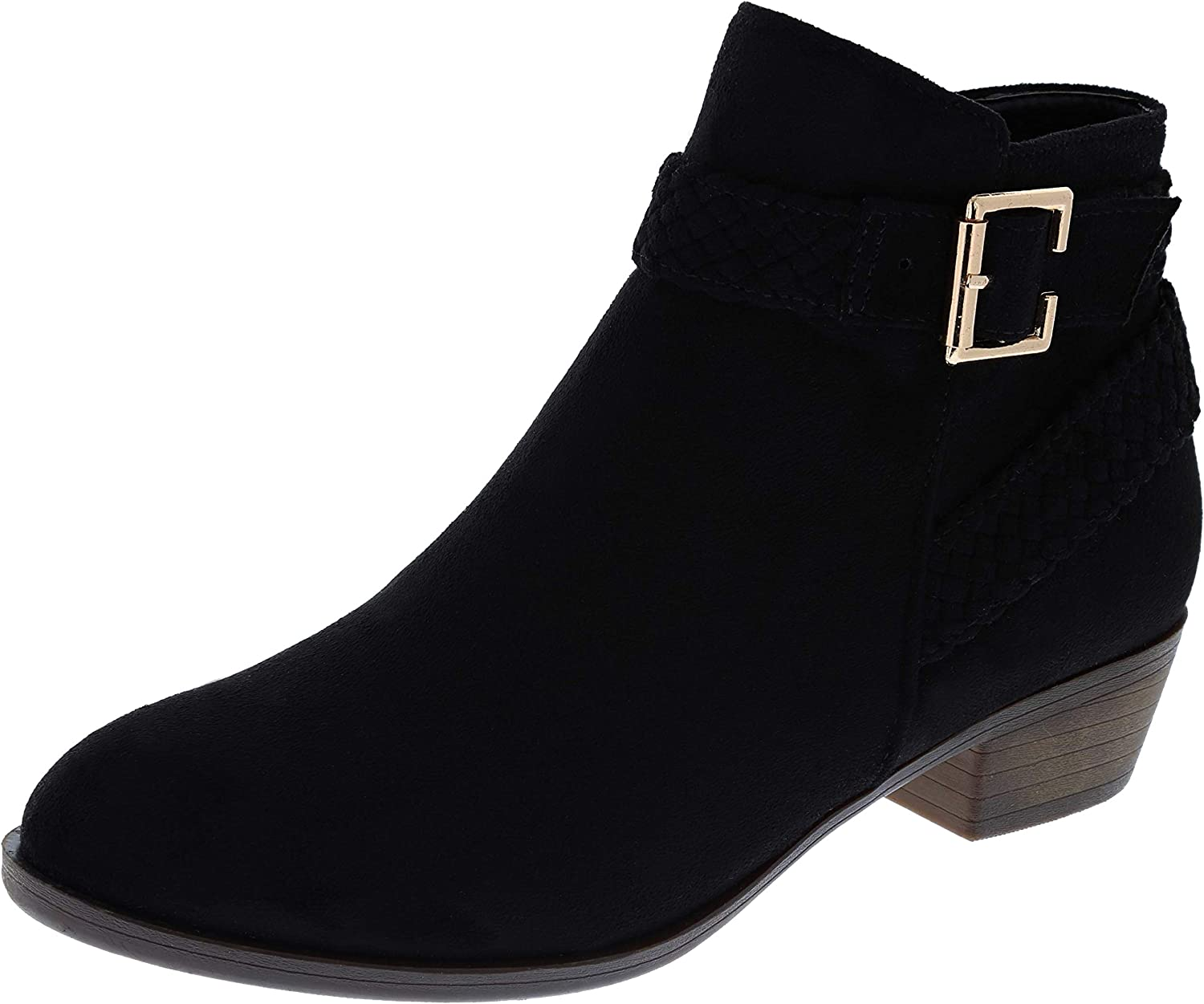 Cambridge Select Women's Western Woven Braid Strappy Chunky Low Heel Ankle Bootie