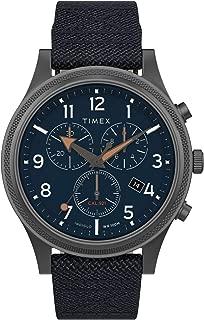 Timex Men's Allied LT Chronograph 42mm Fabric Strap Watch TW2T75900,Gunmetal/Blue/Blue