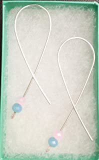 Sterling Silver Blue and Pink Infant Child Loss Awareness Support Ribbon Threader Earrings